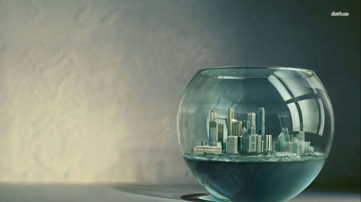 wallpapersxl-aquarium-digital-art-city-skyline-fishbowl-bowl-141426-1366x768